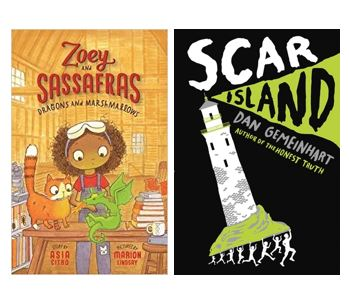 "Book covers for ""Zoey and Sassafras: Dragons and Marshmallows"" by Asia Citro and ""Scar Island"" by Dan Gemeinhart"