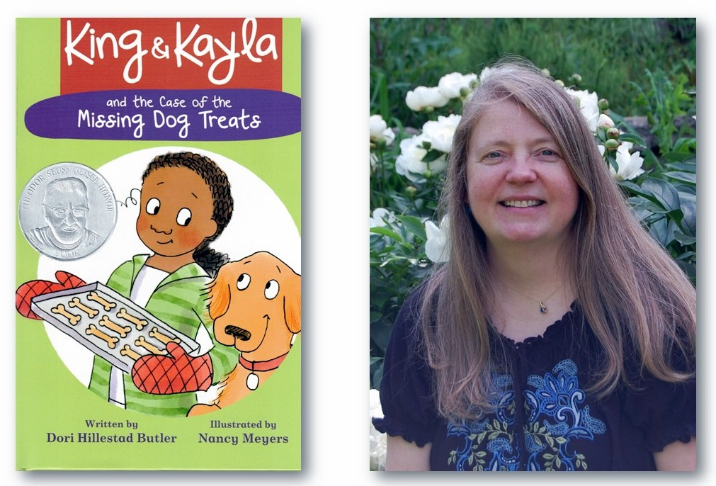 "Cover of a book called ""King and Kayla: The Case of the Missing Dog Treats"" with a photo of the author, Dori Hillestad Butler, next to it"