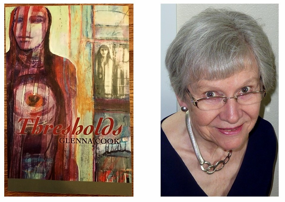 A cover of a book called Thresholds with a photo of the author, Glenna Cook, next to it