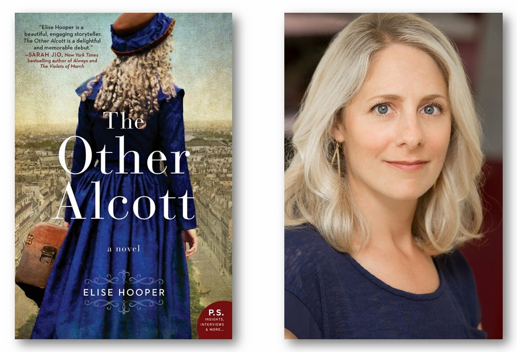 The cover of a book called The Other Alcott. Also a smiling woman in a blue top.