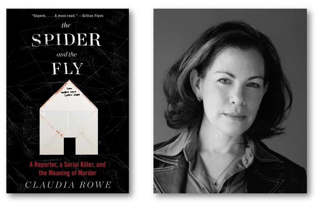 The cover of a book cover called the Spider and the Fly. Also a black and white picture of a woman with chin length dark hair.